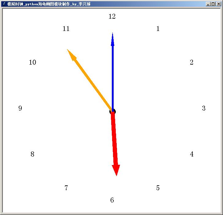 海龟模块制作的模拟时钟_python海龟画图模块制作_by_李兴球