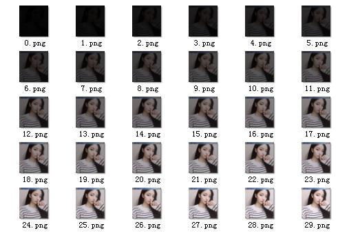 李兴球python制作从暗到亮的图像帧