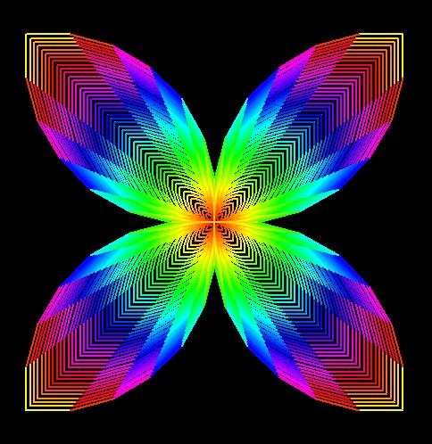 李兴球Python海龟画图彩花之花蝴蝶