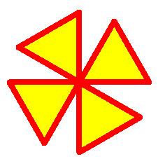 python简易画4个正三角形填充命令用法