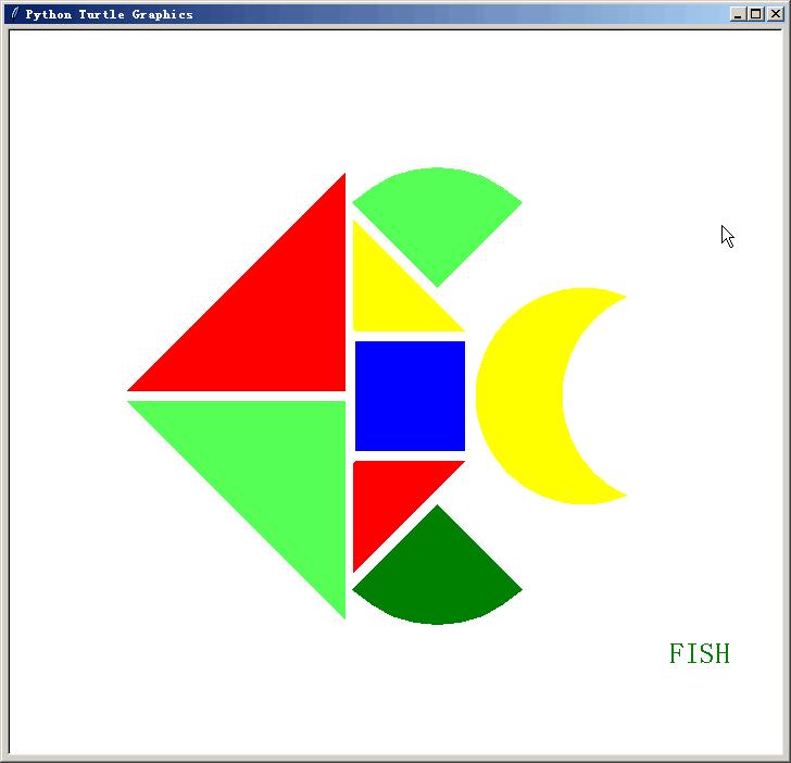 python几何绘图拼图鱼